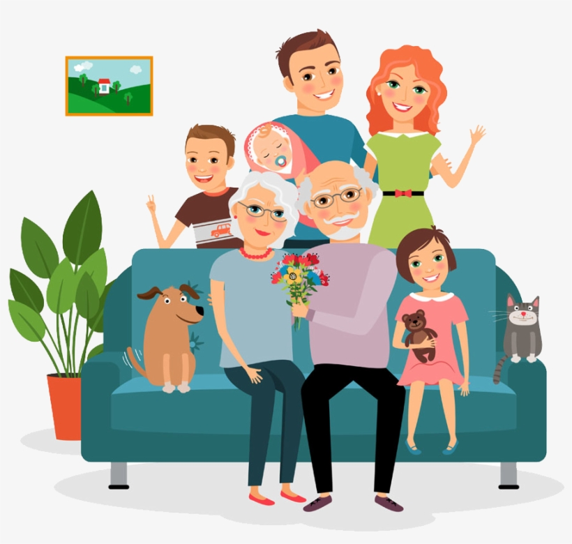 Family Couch Father Illustration Family On Sofa Cartoon