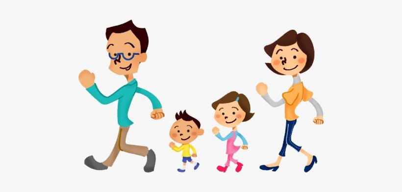 Family Clipart Walking Cute Borders Vectors Animated - Family Walking  Clipart - 500x313 PNG Download - PNGkit