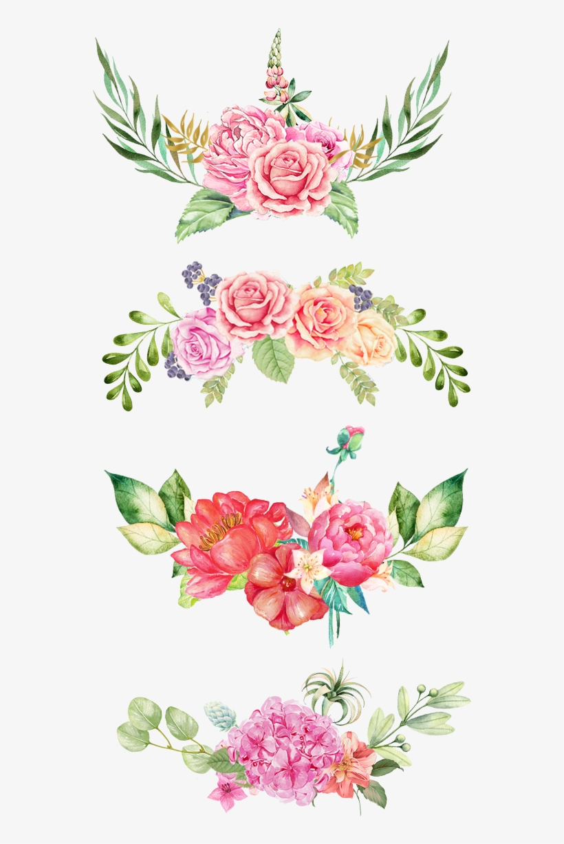 Floral Print Png Watercolor Flowers Pink Border 800x1200 Png