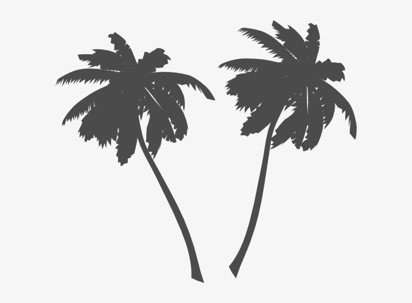 Palm Trees And Sun Black And White Png Vector - Palm Tree Clip Art