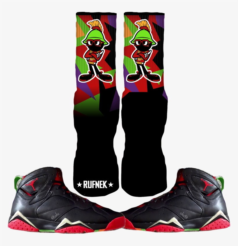 b4f98fab27dc68 Jordan Marvin The Martian 7s Custom Socks - Jordan Retro 7