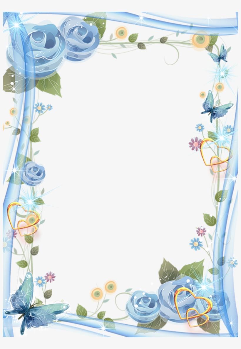 beautiful blue transparent photo frame - border design for wedding invitation