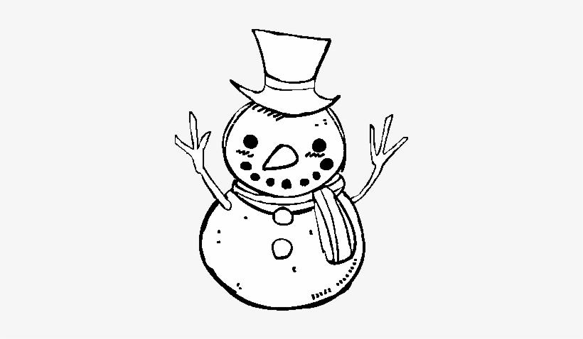 Dibujo De Un Muñeco De Nieve Con Sombrero Para Colorear Lindos