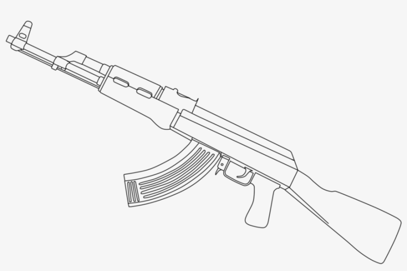 Ak 47 Drawing Png Ak 47 White Png 900x600 Png Download Pngkit