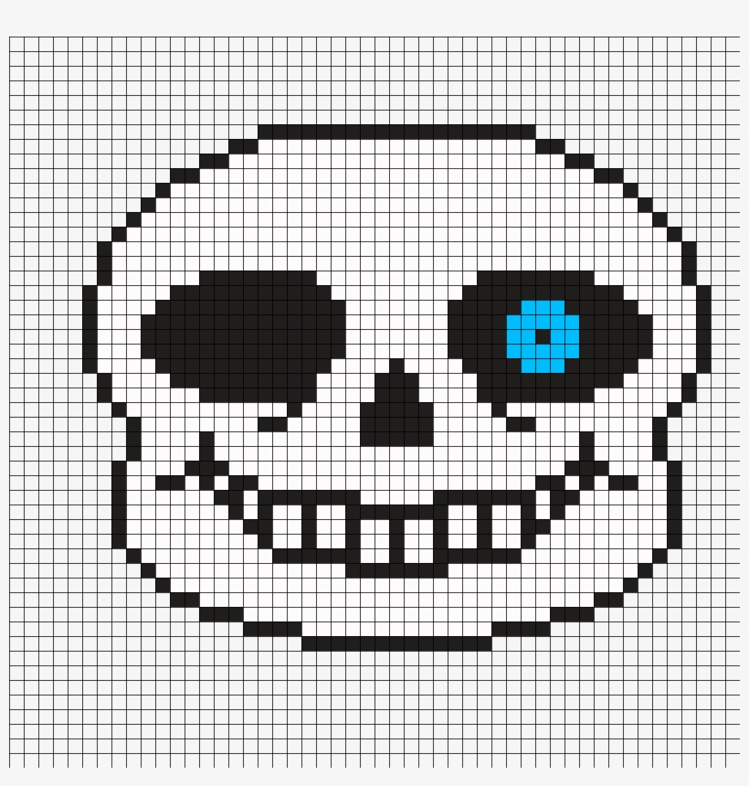 Undertale Sans Pixel Art Grid - 3 Masks, Papyrus, Sans, Blue Eye