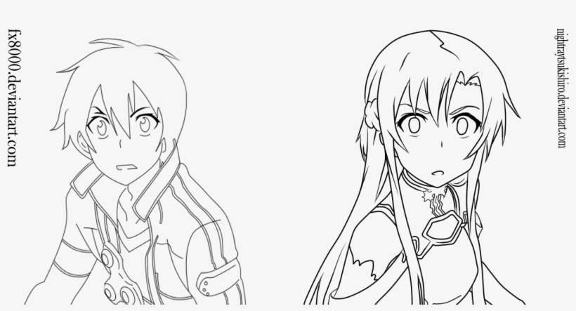 Asuna Coloring Pages Kirito Sao Line Art 1280x637 Png Download Pngkit