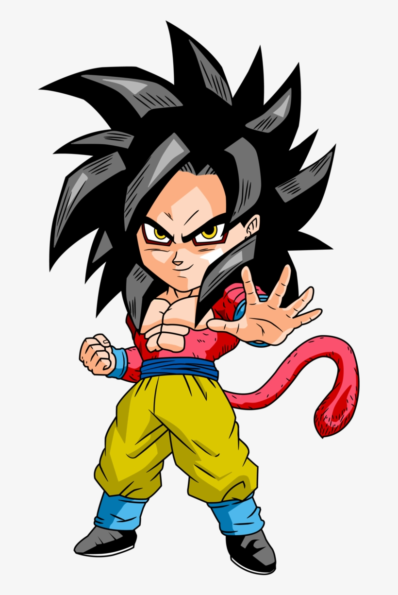 Monkey Chibi Goku Super Saiyan 4 Chibi 681x1174 Png Download