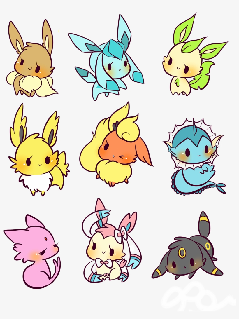 Buttons Are - All Eevee Evolutions Drawing - 1500x1941 PNG Download