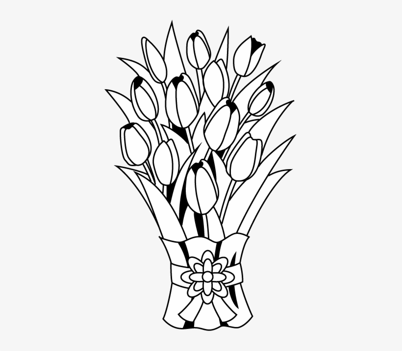 Flower Bouquet Clip Art Bunch Of Flowers Clipart Black And White 394x636 Png Download Pngkit