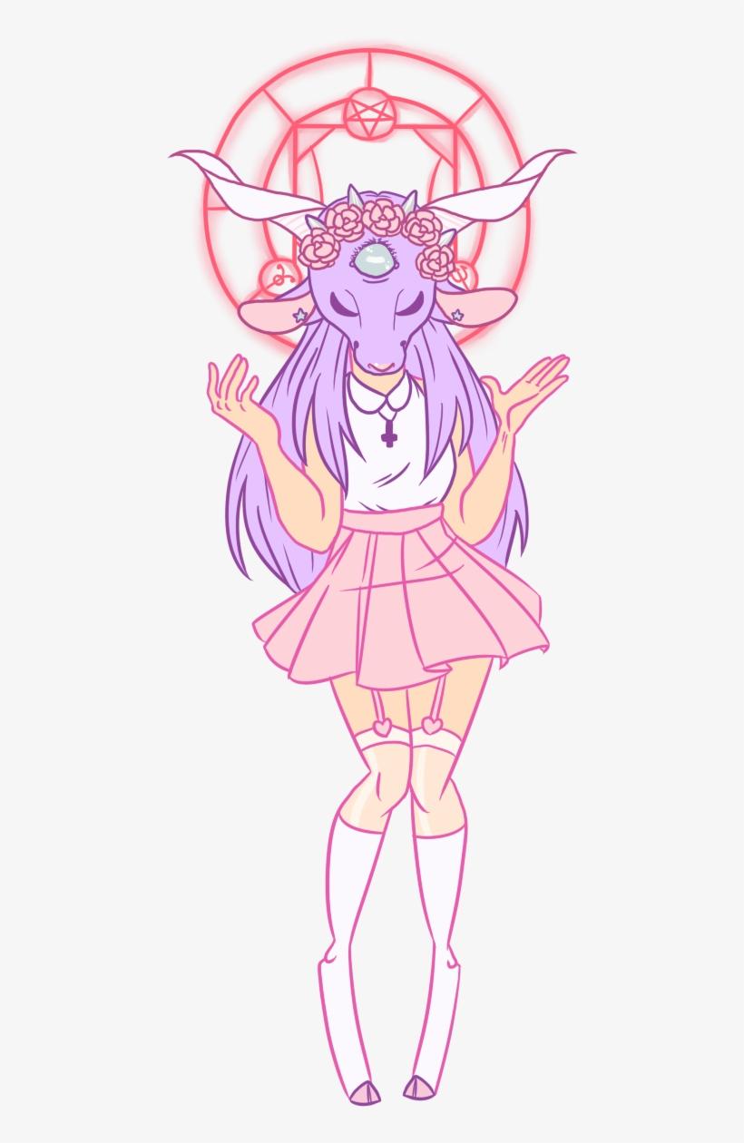 Baphomet Princess Creepy Cute Pastel Goth Drawing 591x1213 Png