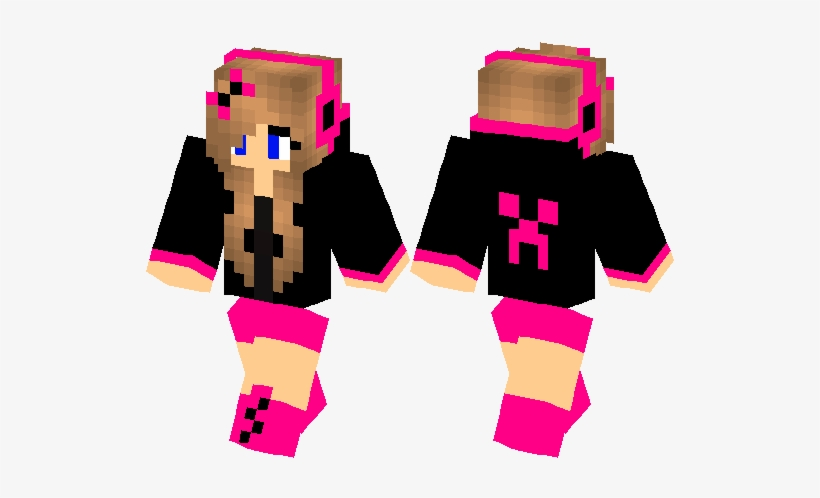 Minecraft Skins Pink Creeper Girl 528x418 Png Download Pngkit