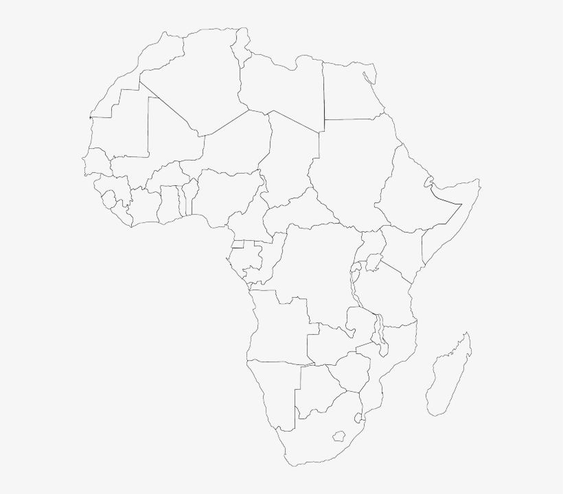 Map Of Africa Empty.Empty Black Africa Outline Map Silhouette White Map
