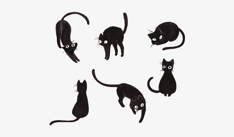 Shadow Cats Watercolor Png Black Cat Drawing Cute 500x405 Png Download Pngkit