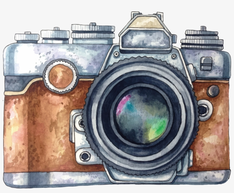 Camera Vintage Vector Png : Ftestickers watercolor camera vintage retro camera water color