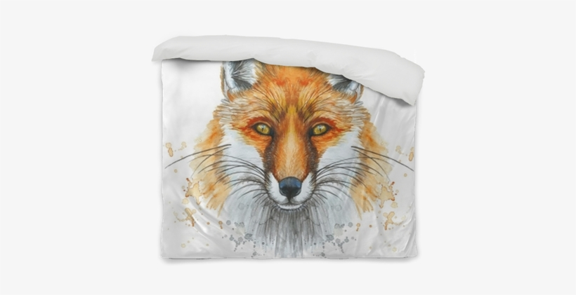 Painted With A Watercolor Drawing Of A Red Fox The Raposa