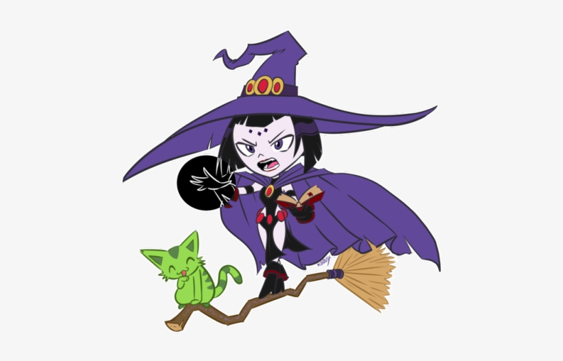 Wanted To Draw Some Teen Titans Go Halloween Stuffs Teen Titans Raven Witch 500x479 Png Download Pngkit