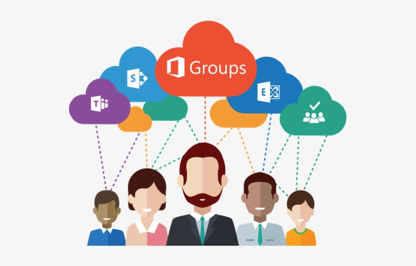 Illustration Showing Group Of 5 People With Clouds - Office 365 - 547x445 PNG Download - PNGkit