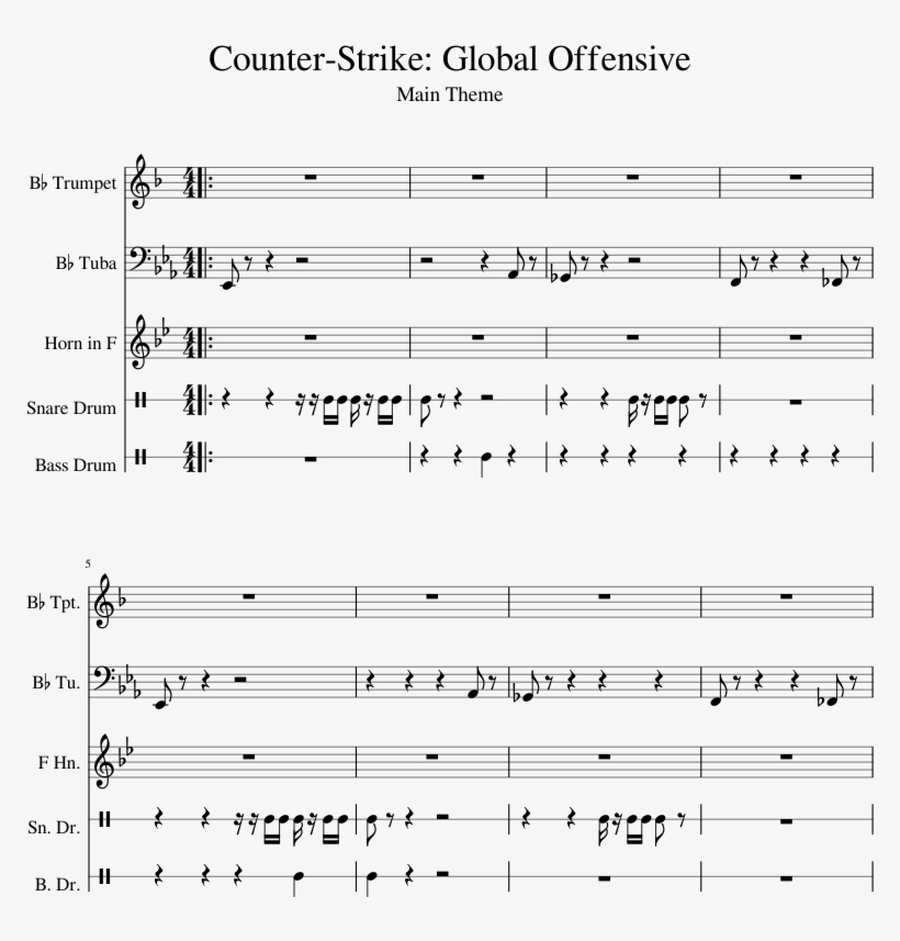 Global Offensive Sheet Music 1 Of 5 Pages - Cs Go Theme