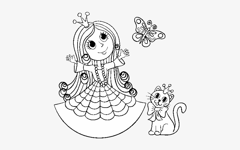 Princess With Cat And Butterfly Coloring Page Princess Cat For Coloring 600x470 Png Download Pngkit