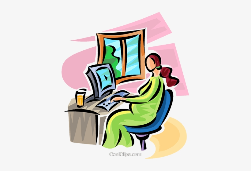 Pregnant Woman Working At A Computer Royalty Free Vector Pregnancy 417x480 Png Download Pngkit