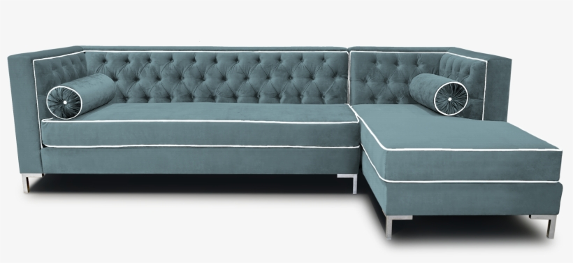 Gray Color Modern Tufted Sectional Sleeper Sofa With Bolster Pillow
