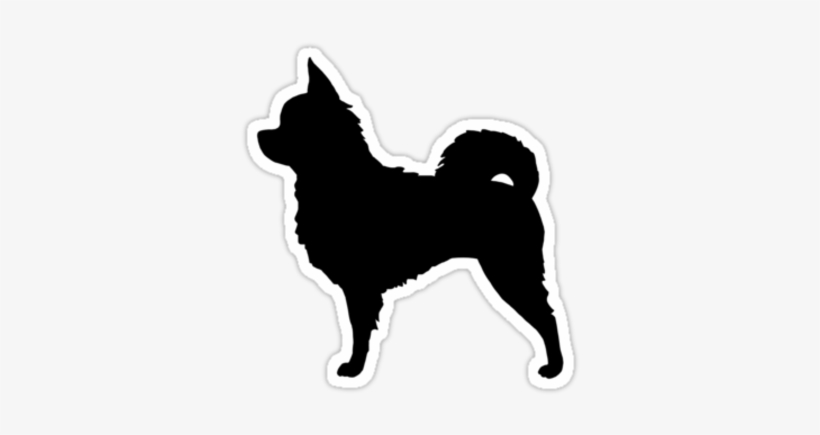 Long Haired Chihuahua Silhouette Sticker Long Haired Chihuahua Silhouette 375x360 Png Download Pngkit