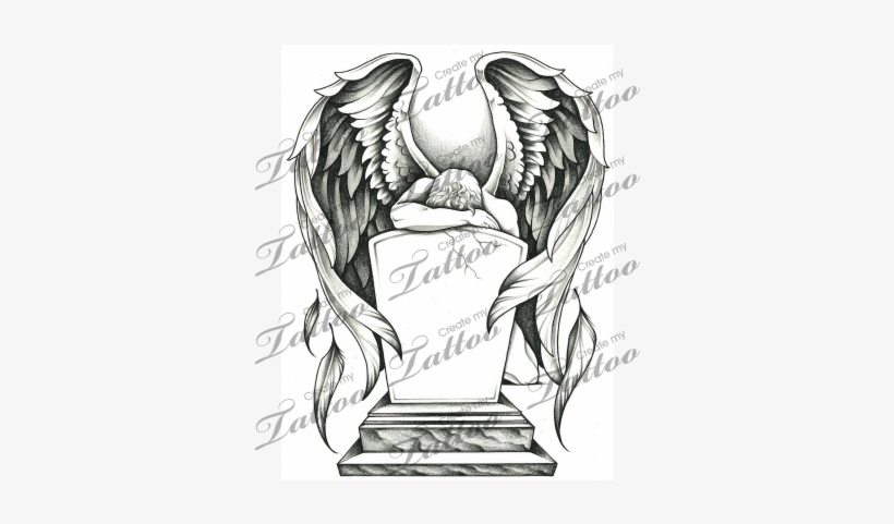 Marketplace Tattoo Grieving Angel And Tombstone Rip Angel Tattoo
