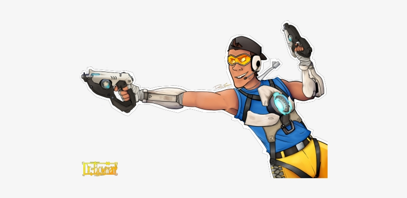 The Scout As Traceroverwatch Team Fortress Tracer And Scout Fanart 500x367 Png Download Pngkit