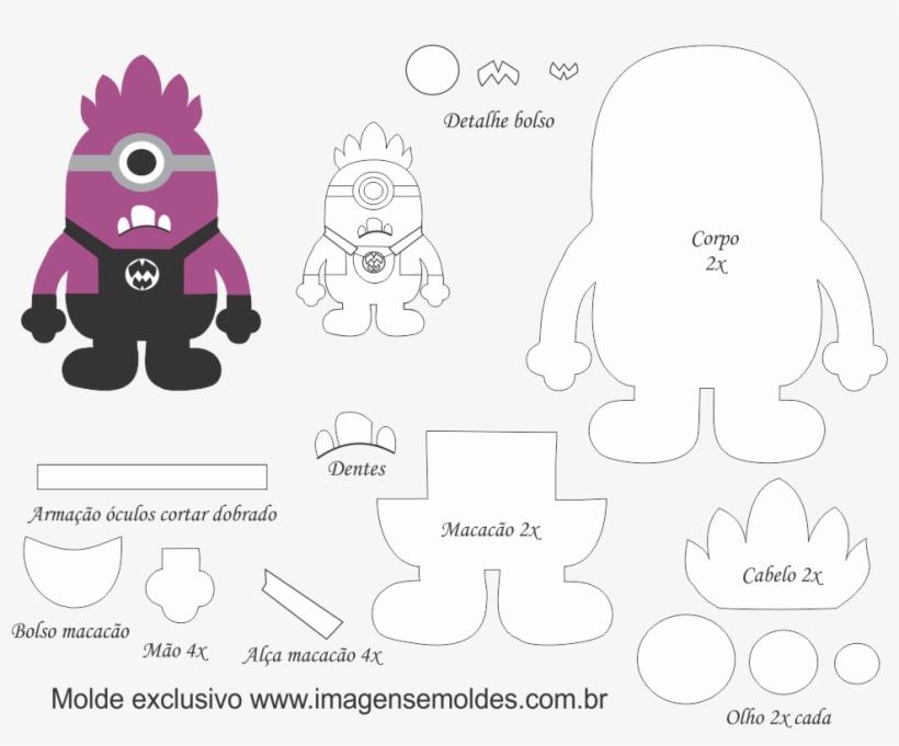 Moldes De Feltro Eva Artesanato Molde Minions 1000x820 Png