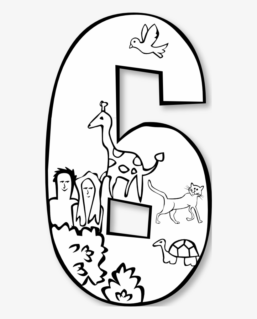 Creation Day 6 Number Ge 1 Black White Line Art Svg Sixth Day Of Creation Coloring Page 532x936 Png Download Pngkit