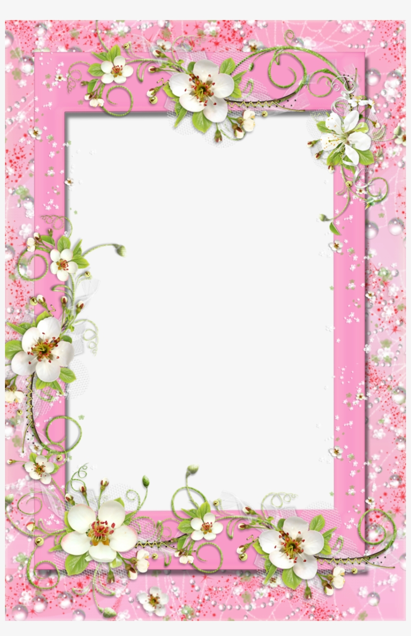 Delicate Pink Photo Frame With Fl Flower Decorations - Pink