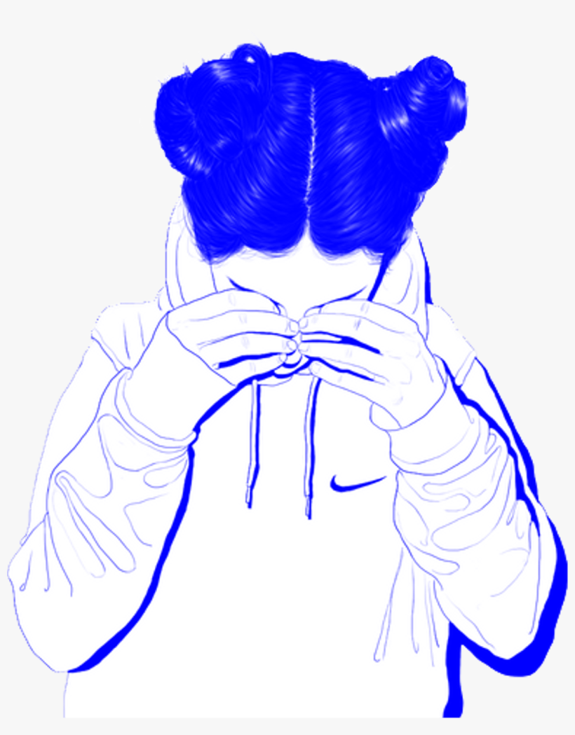 Tumblr Girl Aesthetic Blue Sad Vaporwave Cute Whit Aesthetic Girl Drawing Black And White Png Image Transparent Png Free Download On Seekpng