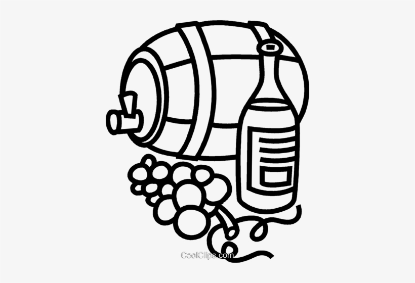 Wine Barrel With Grapes And Wine Royalty Free Vector