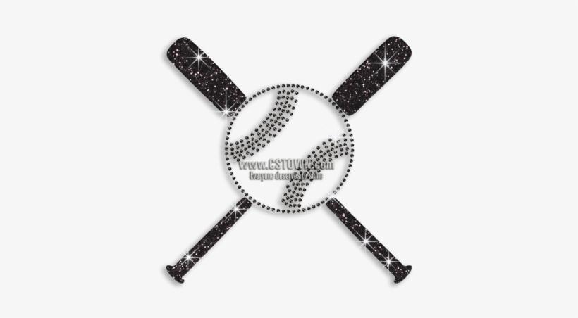 Black Baseball Bats Iron On Rhinestone Glitter Transfer