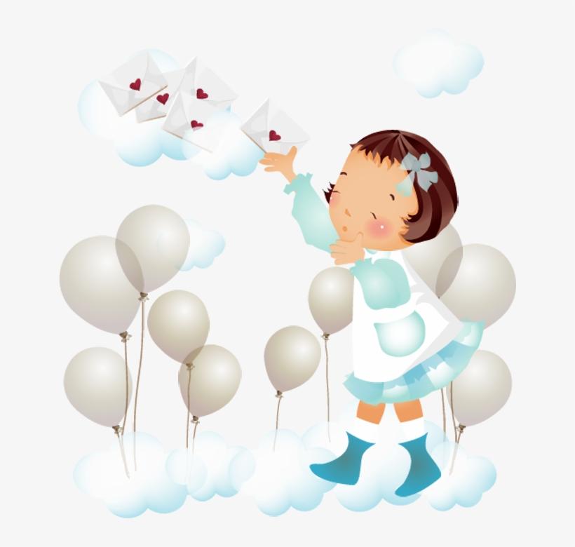 Desenho Png De Menina Nas Nuvens Baloes E Cartas C Desenho