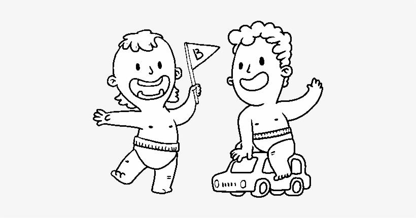 Dibujo De Unos Niños Jugando Para Colorear Desennho De