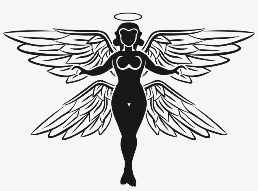 Wings Clipart Archangel Gambar Hitam Putih Mikael Malaikat