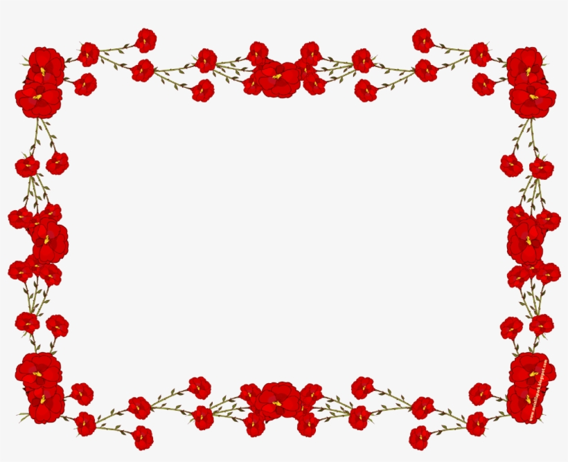 Flowers For Rose Flower Design Border Red Flower Frame Png
