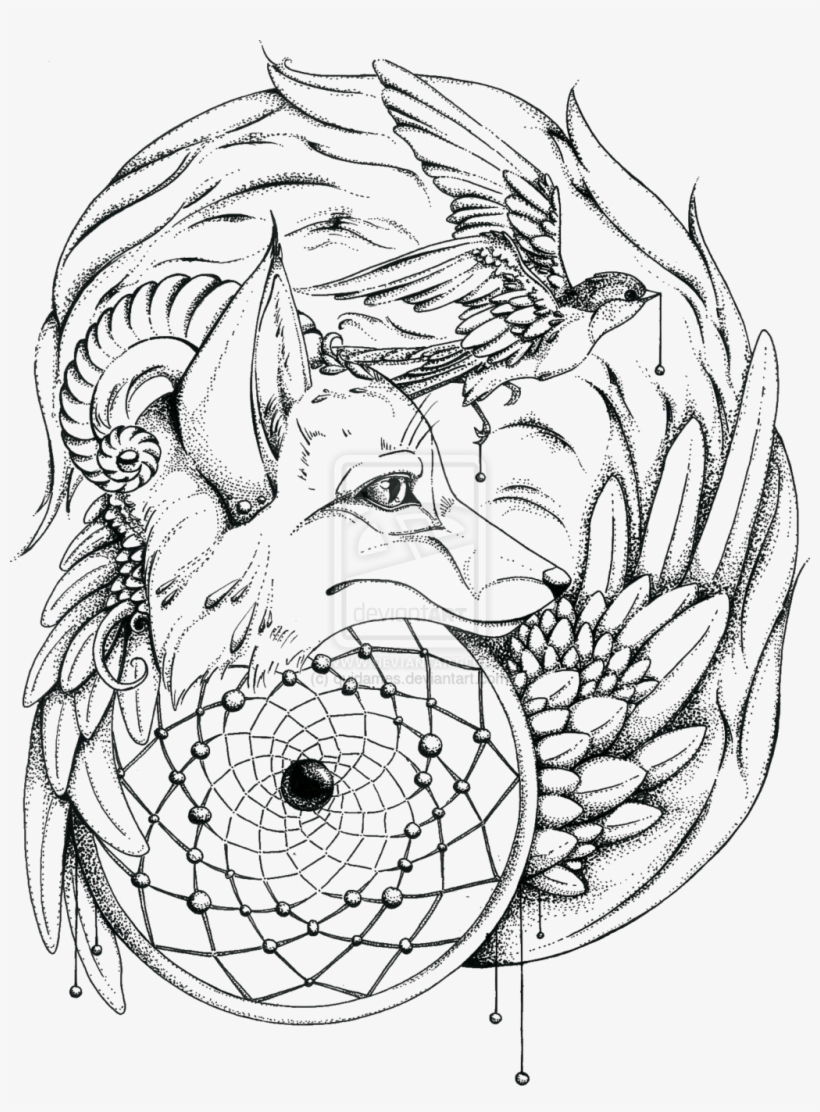 Wolf Head Bird Transparent - Adult Coloring Pages Native ...