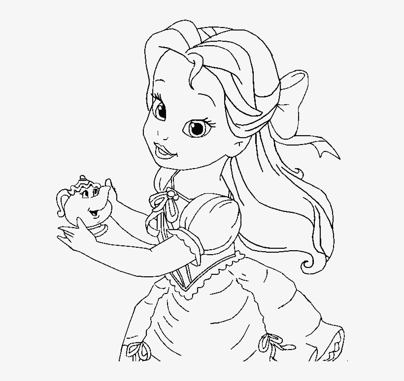 Little Belle Coloring For Kids Baby Princess Belle Coloring Pages
