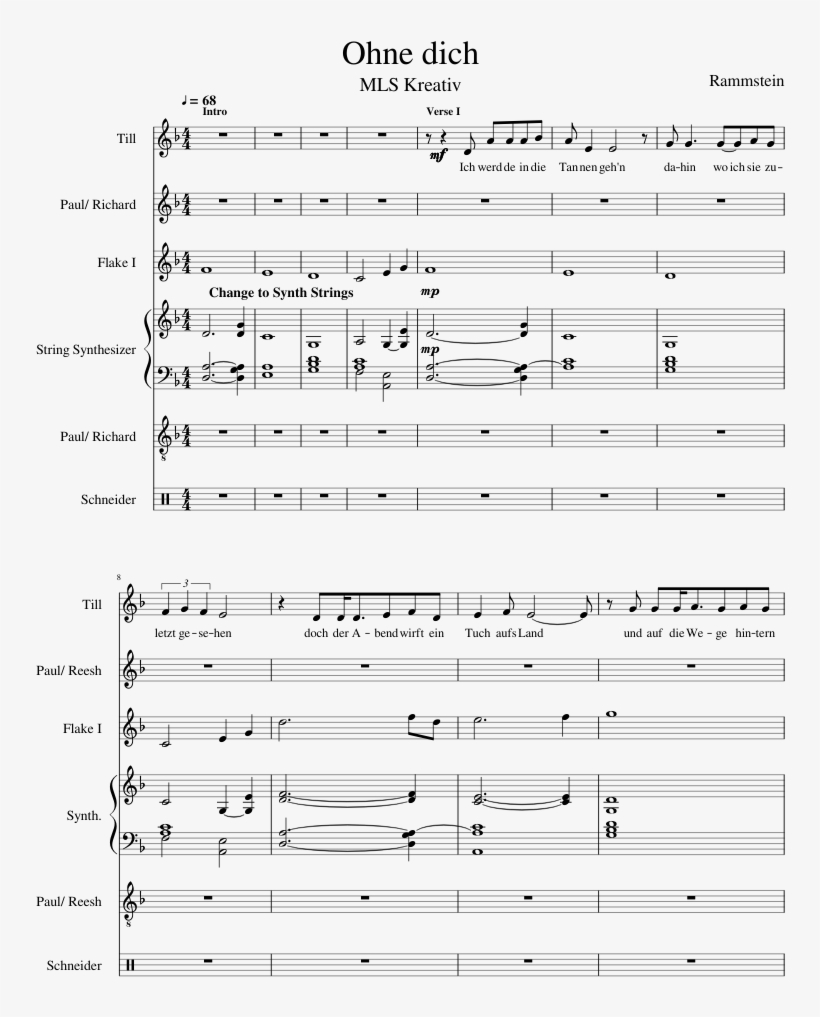 Ohne Dich Sheet Music Composed By Rammstein 1 Of 11