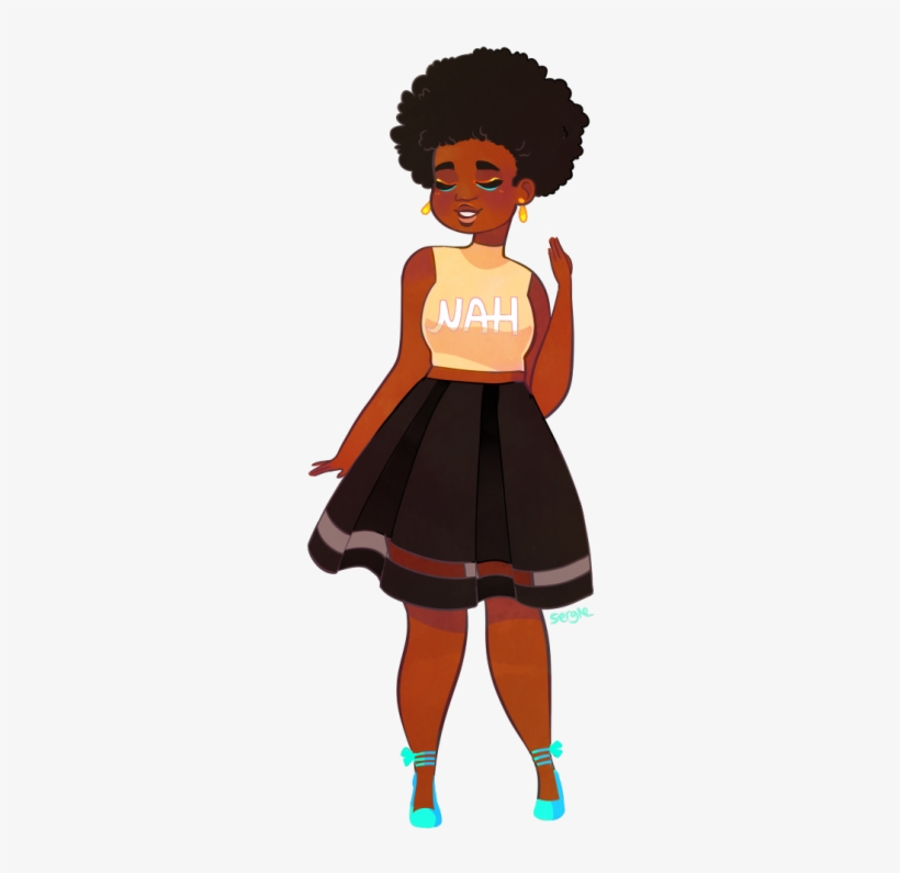 A Cute Girl W An Afro Requested By Anon Natural Hair Afro Cartoon Black Girl 353x750 Png Download Pngkit