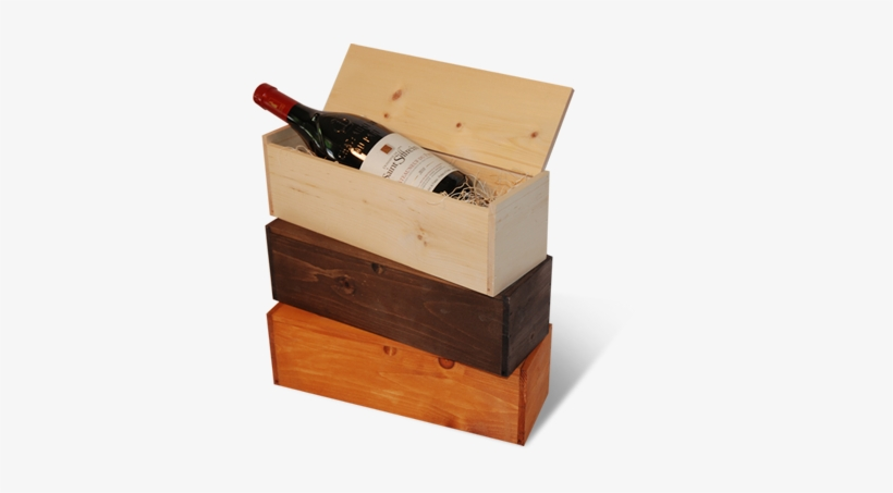 Wooden Sliding Lid Wine Boxes With Custom Stains Wooden Gift Box