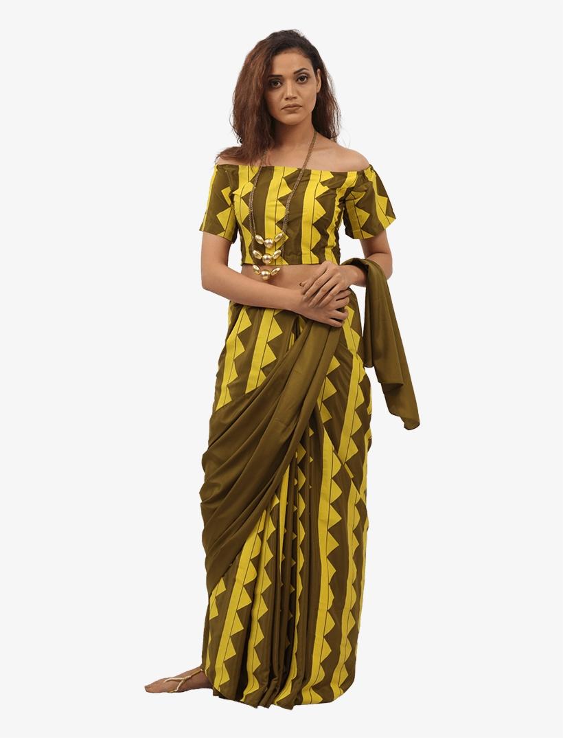 Bahubali 2 Olive Triad Blouse Pants Saree Costume 640x1060 Png Download Pngkit