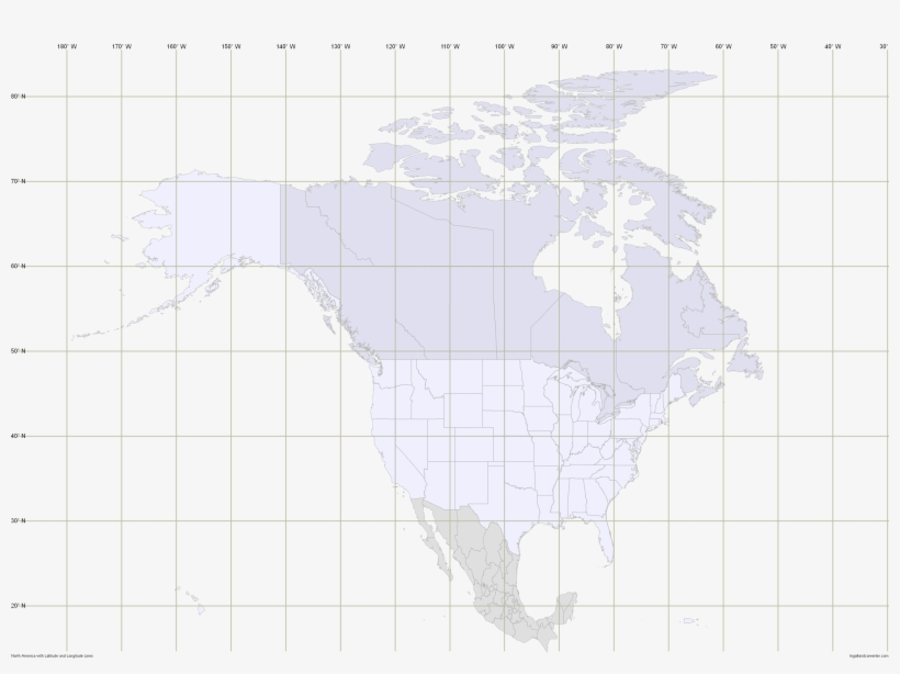 North America Outline Map With Latitude And Longitude - 3000x2100 ...