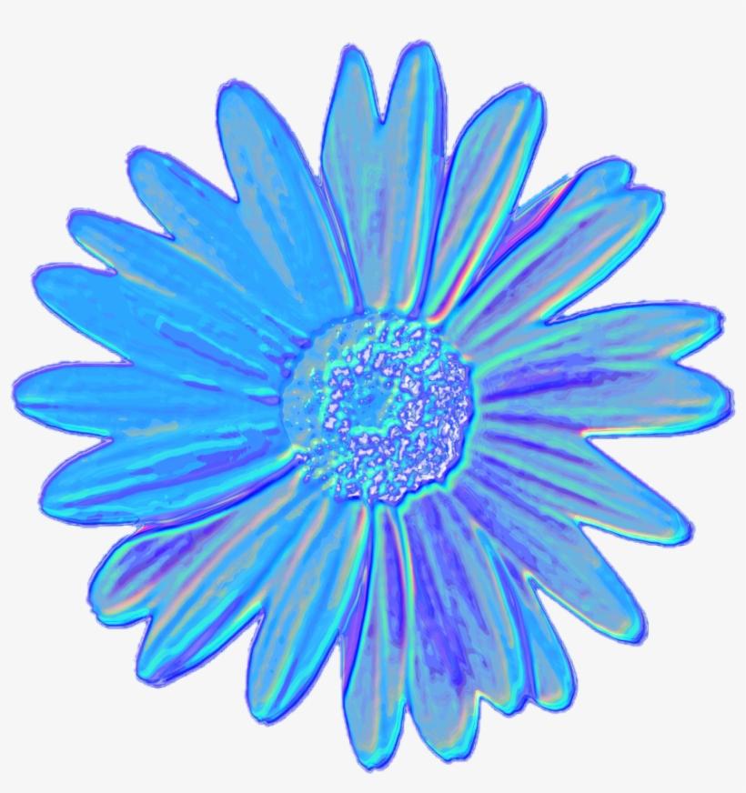 Blue Daisy Flower Tumblr Aesthetic Vaporwave Iridescent Blue