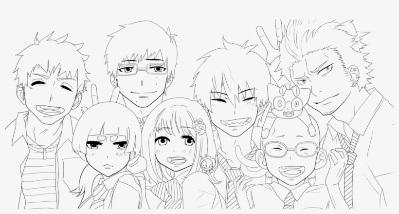 Blue Exorcist Coloring Pages 3 By Karen Ao No Exorcist Lineart 1280x623 Png Download Pngkit