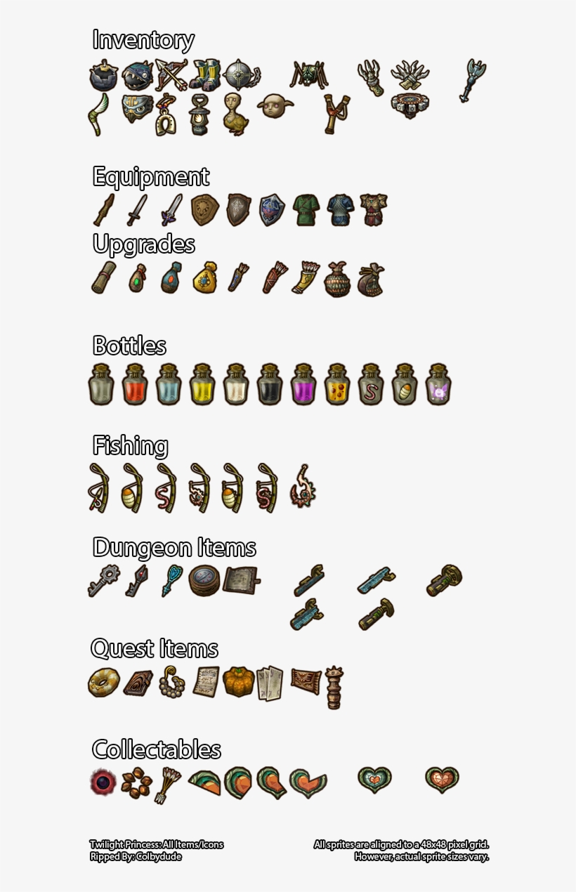 Item Icons - Twilight Princess Item Icons - 576x1200 PNG Download