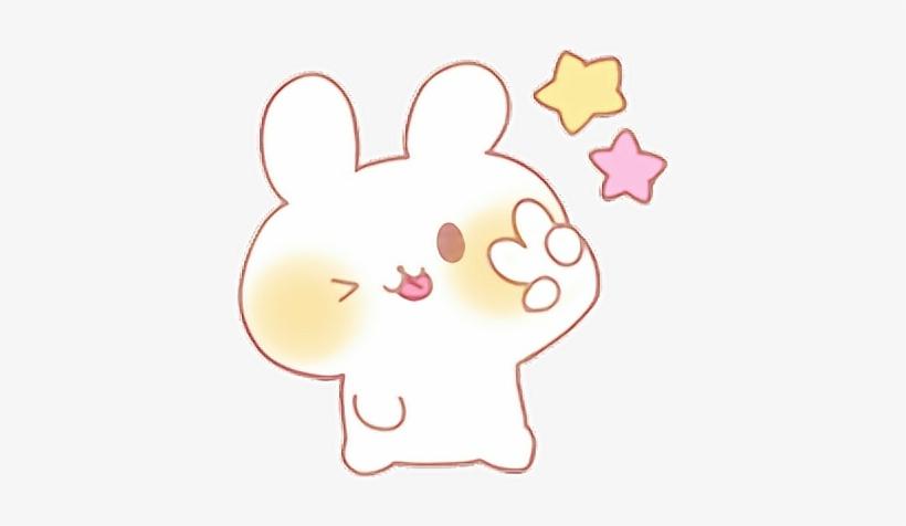 Peace Cute Kawaii Bunny Rabbit Cutestickers Stars Rabbit 398x396 Png Download Pngkit