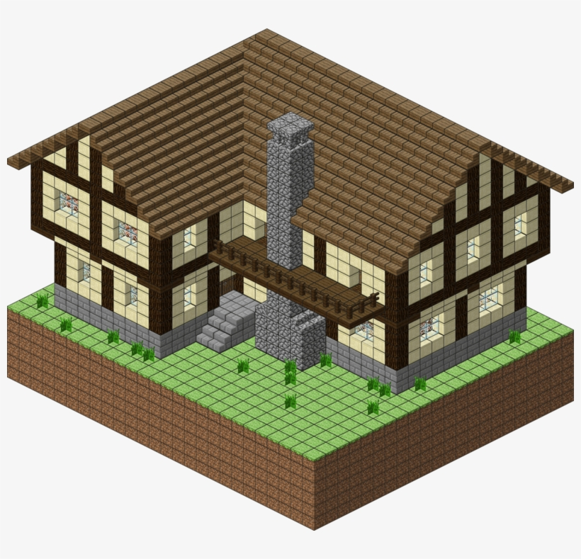 Download Transparent 1 Png - Minecraft House Blueprints Layer By Layer